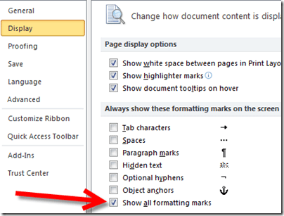 Show all formatting marks on Windows