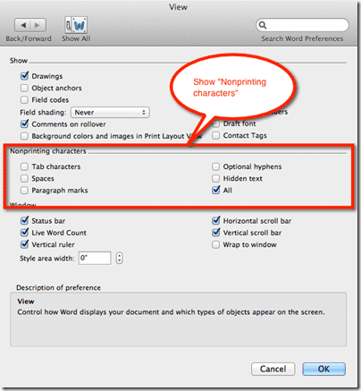 Show non-printing characters on Mac