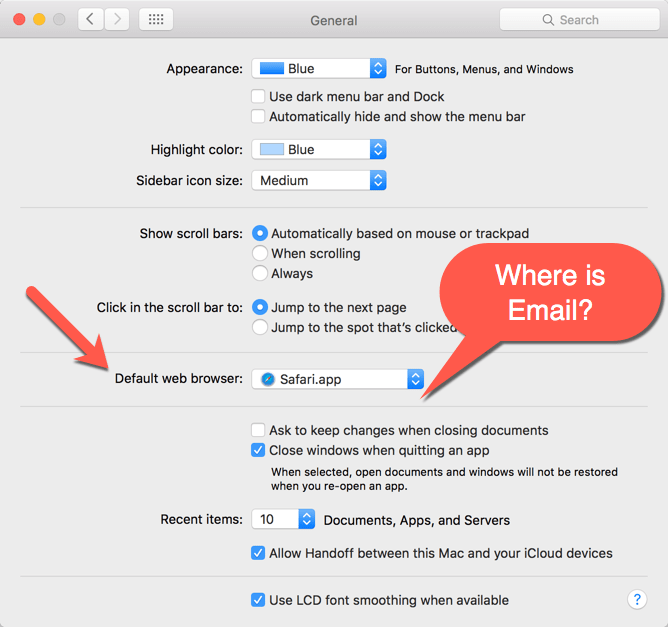 How to make outlook default email in mac