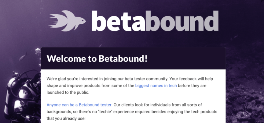 Betabound - sign up