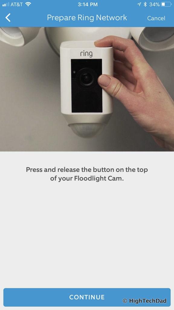 Ring Floodlight Cam - press button