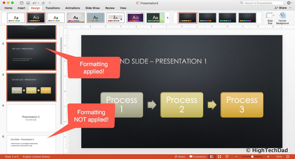 HTD PowerPoint Design - formatting partially applied