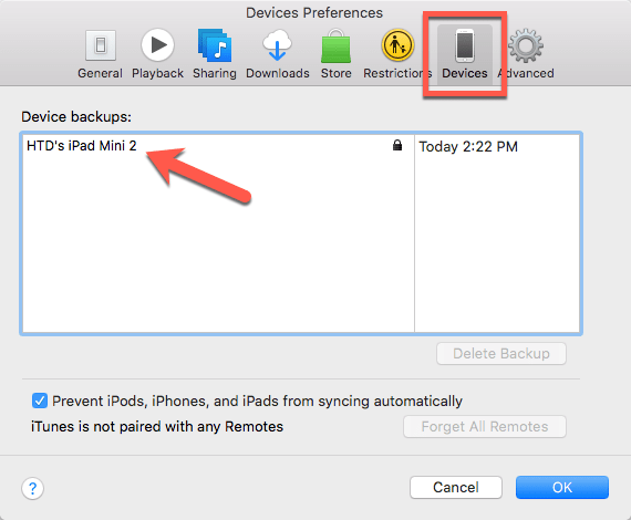HighTechDad Change iOS Backup Location in iTunes - Devices tab