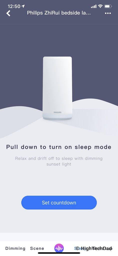 HighTechDad Xiaomi PHILIPS ZhiRui Smart Bedside Lamp - sleep setting