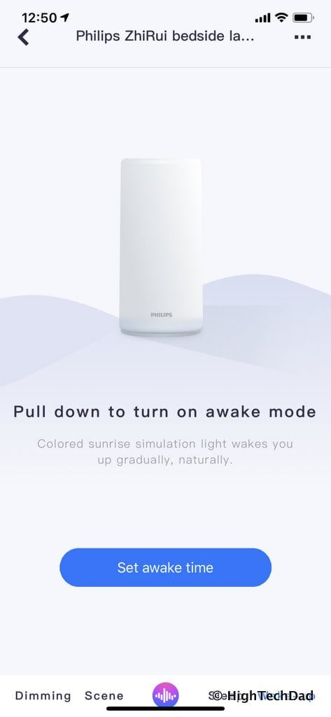 HighTechDad Xiaomi PHILIPS ZhiRui Smart Bedside Lamp - wake setting
