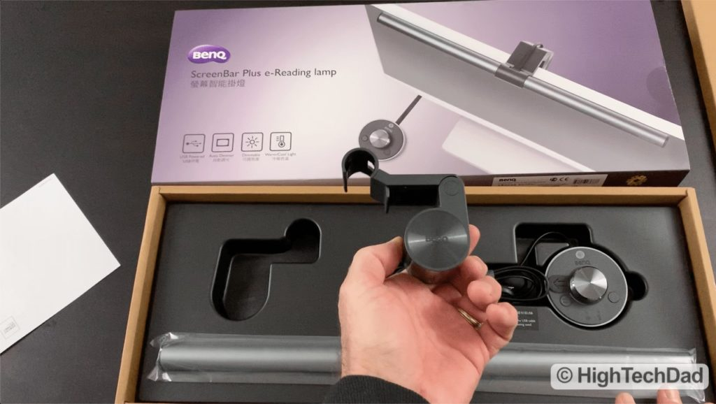 HighTechDad Video Review of BenQ ScreenBar Plus e-Reading LED Lamp - what's in the box
