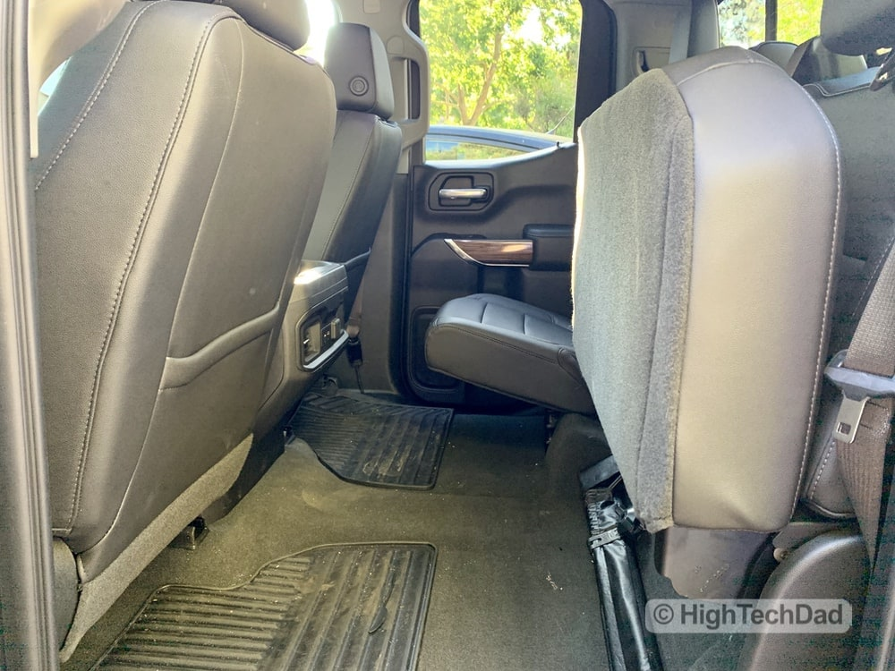 HighTechDad Review 2019 Chevy Silverado - rear seats folded up