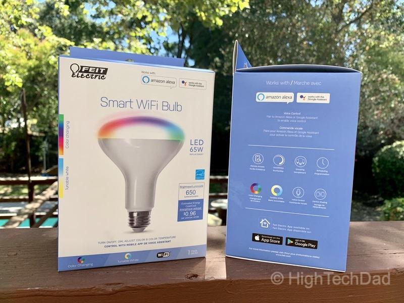 HighTechDad reviews Feit smart, WiFi floodlight bulbs - side view of box