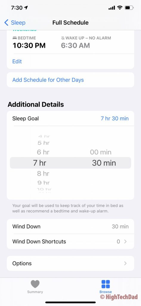 HighTechDad - setting the sleep goals and Wind Down settings on iOS