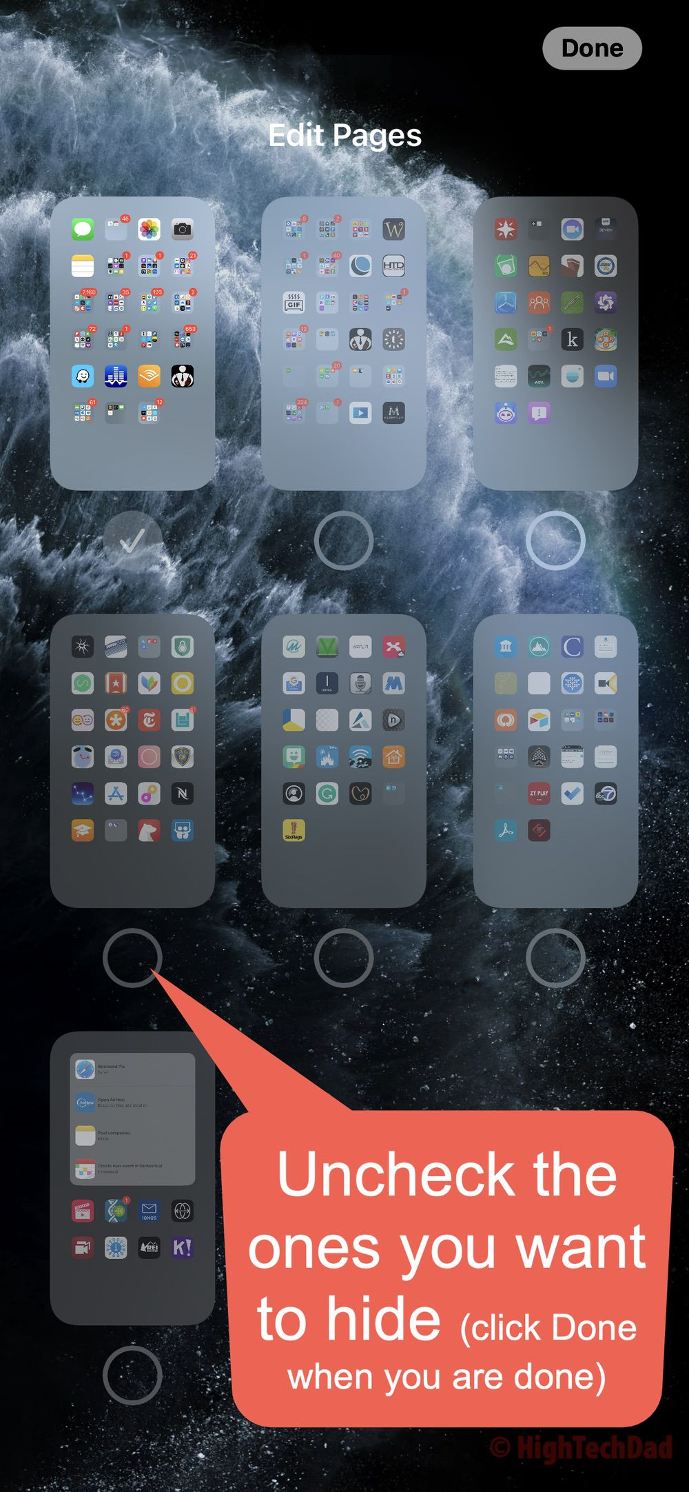 Uncheck pages you want to hide - HighTechDad iOS 14 quick tip
