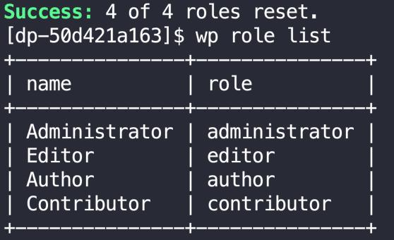 HighTechDad - WordPress roles recreated via WP CLI