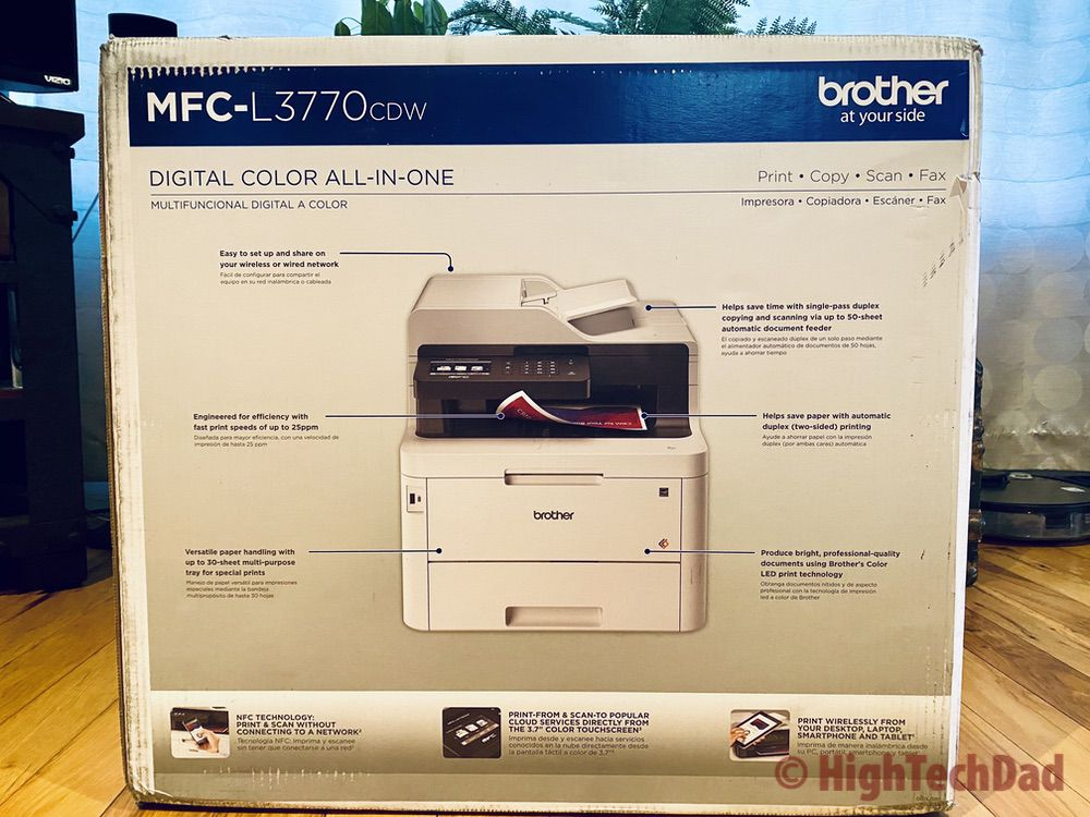 HighTechDad review of Brother MFC-L3770CDW laser printer - back side of the box