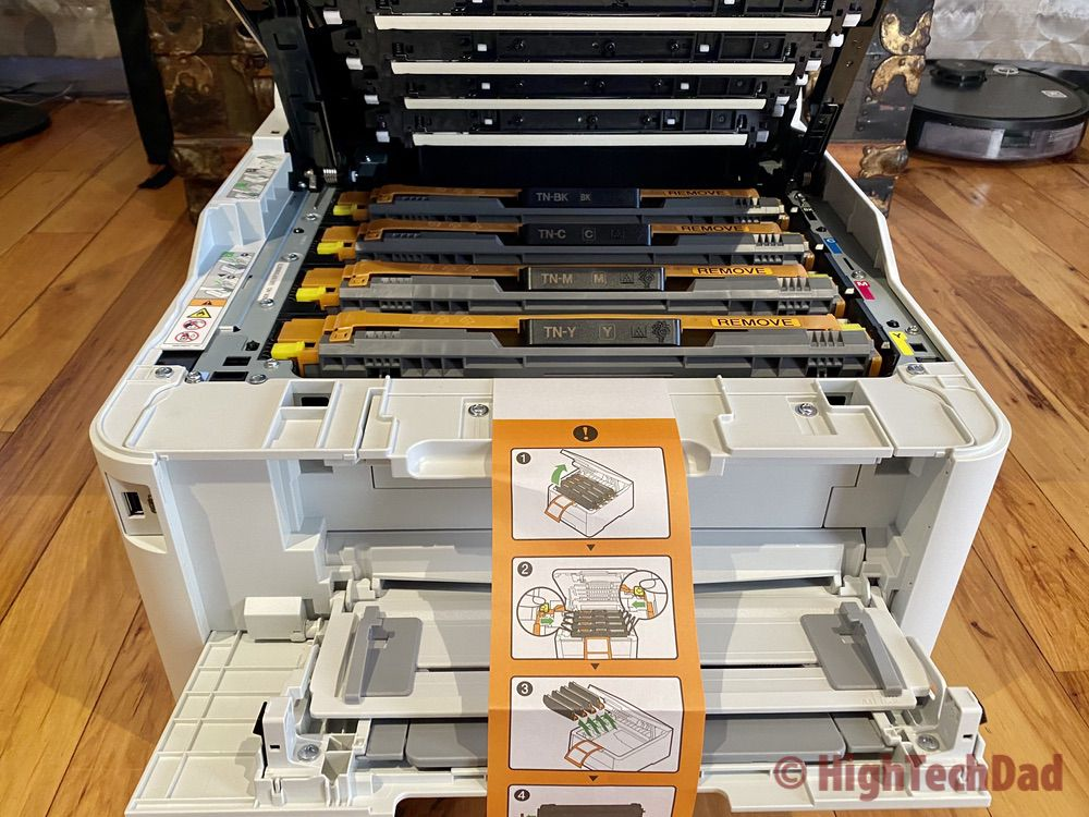 HighTechDad setting up the Brother MFC-L3770CDW laser printer and toner cartridges